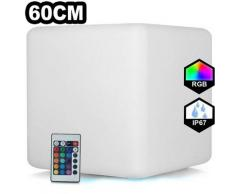 Cube LED Lumineux Multicolore 60CM Rechargeable Sans Fil