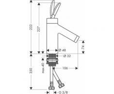 Hansgrohe Axor Starck Classic Mitigeur monocommande de lavabo sans kit de vidange, Coloris: chrome