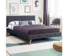 Lit double scandinave Oslo 160x200 cm tissu gris anthracite