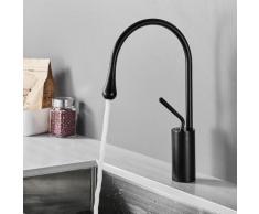 Auralum Mitigeur lavabo Noir Robinet de Lavabo en Laiton Chromé Mitigeur Salle de Bain Design Unique