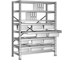 Rayonnage emboîtable pour dossiers suspendus - hauteur 2280 mm, châssis à 3 rangées - rayonnage de