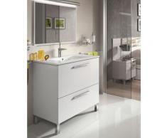 Meuble de salle de bain sur le sol 80 cm Blanc Brillant avec miroir | Blanc brillant - Avec lampe