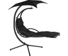 Fauteuil Suspendu avec Pare-Soleil et Support en Acier 195 cm x 118 cm x 202 cm Noir
