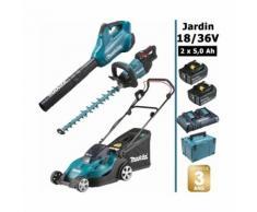 Pack 18/36V: tondeuse 36V 43cm + souffleur 36V + taille-haie 18V 50cm + 2 batt 5Ah MAKITA DLM431