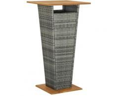 Asupermall - Table de bar Gris 60x60x110 cm Resine tressee et bois d'acacia