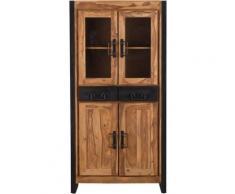Made In Meubles - Buffet vaisselier industriel vitré en acacia 2 tiroirs, 4 portes - Bois