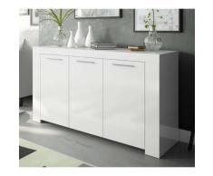 Buffet avec 3 portes décor blanc Artic -144 x 80 x 42 cm -PEGANE-