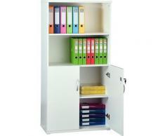 Armoire haute de bureau en bois | LxPxH 800 x 400 x 1592 mm | 3 étagères | Avec placard | Blanc |