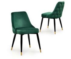 Lot de 2 chaises capitonnées en velours vert DORINA