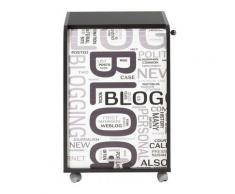 Caisson à rideau 2 tiroirs noir imprimé blog Orga