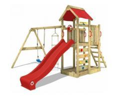 Aire de jeux bois WICKEY MultiFlyer Portique de jeux en bois Tour d'escalade avec balançoire,