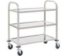 Youthup - Chariot de cuisine à 3 niveaux 87x45x83,5 cm Acier inoxydable