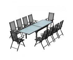Brescia 10 : Ensemble de jardin en aluminium table extensible + 10 chaises en textilène