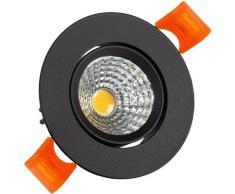 Spot Downlight LED COB Rond Orientable (UGR19) 5W Noir Coupe Ø 55mm CRI92 Expert Couleur Blanc