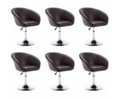 Chaise pivotante 6 pcs Similicuir 67,5x58,5x87cm Marron