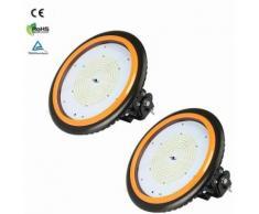 2×Anten 200W UFO Projecteur LED Industriel Rond Haute Baie d'éclairage Suspension IP65 Phare de