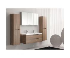 Meuble de salle de bain à suspendre SMILE 1200, chêne clair, en option miroir et armoire murale: