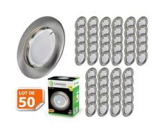 Lampesecoenergie - Lot de 50 Spot Led Encastrable Complete Alu Brossé Lumière Blanc Chaud 5W eq.50W