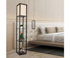 Lampadaire en bois Design Lampe sur Pied avec 3 Niveaux Etag?res und E27 Base 1.6M Lampadaire