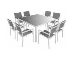 Salon de jardin CAGLIARI en textilène gris 8 places - aluminium blanc