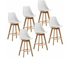 Lot de 6 tabourets de bar pieds en bois hêtre massif - Revêtement simili PU blanc - Scandinave