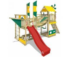 WICKEY Aire de jeux Portique bois Smart Cruiser avec balançoire et toboggan rouge Cabane enfant