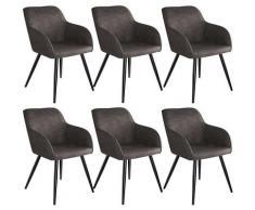 Tectake - Lot de 6 chaises tissu MARILYN - Chaise, chaise de salle à manger, chaise de salon - gris
