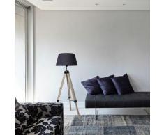 Lampadaire trépied hauteur réglable 71-114 cm lampe de sol 40 W bois style nordique - noir - Noir