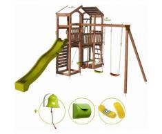 Aire de jeux pour enfant 2 tours avec portique et mur d'escalade - FUNNY Big Climbing et son kit