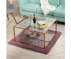 5026 Table basse carrée avec 2 étagère d'espace de rangement ouvert, en verre et en métal doré rose