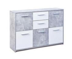 Pegane - Bahut en béton avec 5 portes et 2 tiroirs coloris gris clair et blanc - Dim : L 115 x P 30