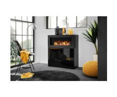 Price Factory - Commode double portes facade noire brillante avec cheminée bio-éthanol.COMINA - Noir