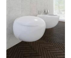 Asupermall - Cuvette WC suspendue et bidet suspendu en ceramique Blanc