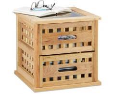 Table basse carrée table de chevet en bois noyer table de nuit console avec 2 tiroirs HxlxP: 34 x