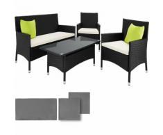 Salon de jardin BARCELONE - 2 Fauteuils 1 Canapé 1 Table en Résine Tressée structure Aluminium Noir