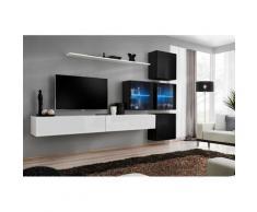 Ensemble meubles de salon SWITCH XIX design, coloris blanc et noir brillant. - Blanc