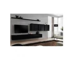 Price Factory - Ensemble meuble salon mural SWITCH VII design, coloris noir brillant. - Noir