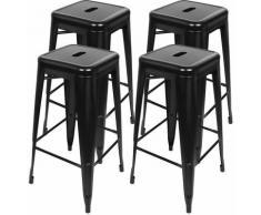 Yongqing - 4 Tabouret de bar métallique haut de gamme de style industriel en fer forgé - Noir