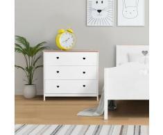 Commode enfant 3 tiroirs - Décor Chene et laqué blanc -MDF et Pin Massif - L90 x P 39 x H81 cm