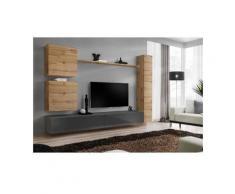 Ensemble de meuble de salon, SWITCH VIII.Meuble TV mural design, coloris gris brillant et chêne