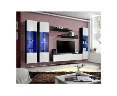Price Factory - Meuble TV FLY C3 design, coloris noir et blanc brillant. Meuble suspendu moderne et