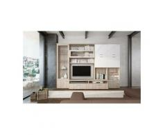 Dmora Système mural de salon, Meuble TV avec vitrine et étagères suspendues, Salon moderne complet,