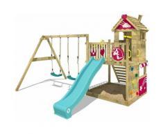 WICKEY Aire de jeux Portique bois Smart Sparkle avec balançoire et toboggan turquoise Cabane enfant