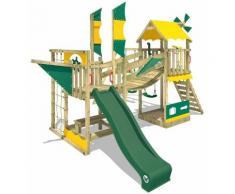 WICKEY Aire de jeux Portique bois Smart Cruiser avec balançoire et toboggan vert Cabane enfant