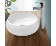Lavabo vasque à poser salle de bain en céramique rond Ø 350 mm design moderne