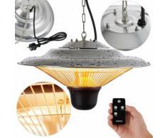 Chauffage Electrique Infrarouge Plafond avec télécommande 1500 W - Radiateur de Terrasse - argent
