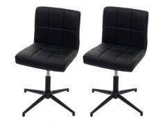 HHG - 2x chaise de salle à manger Kavala II, chaise de cuisine ~ similicuir noir, pied noir