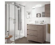Meuble de salle de bain sur le sol 85 cm Chêne eternity avec lavabo en porcelaine | Avec miroir et