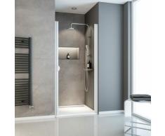 Porte de douche pivotante, 90 x 180 cm, verre transparent 5 mm Sunny, profilé blanc - Schulte