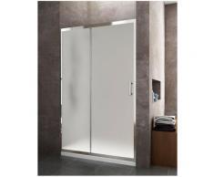 Paroi de douche frontale avec ouverture latérale, une Porte coulissante et un panneau fixe,